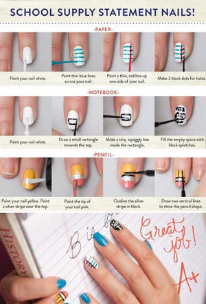 School Supply Statement Nails How To  |  AmazingNailArt.org (32699)