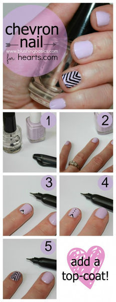 DIY: Chevron Nails with Kristie from Blushing Basics  | Hearts (32707)