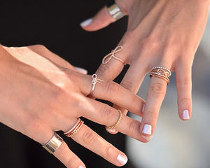 Fancy - Crystal & Bar Stack Rose Gold Rings by Wanderlust (36081)