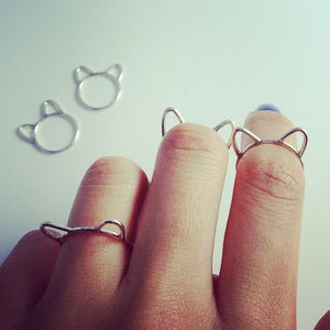 Fancy - Silver Cat Ears Ring (36107)