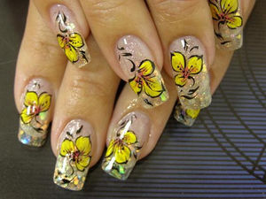 Bright Yellow Flower Summer Nail Art :: Nail Art Design From CoolNailsArt (47987)