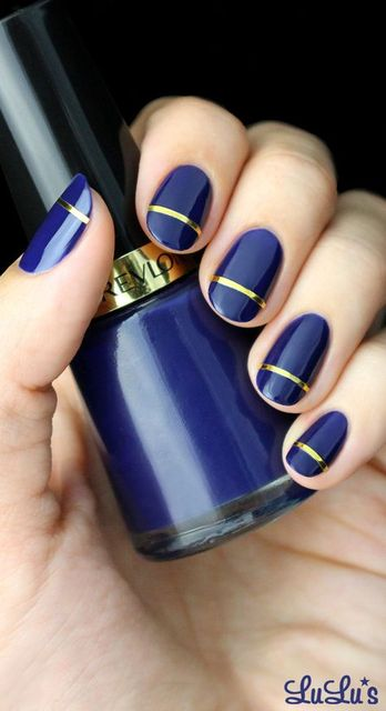 Mani Monday: Indigo Blue and Gold Striped Nail Tutorial (57428)