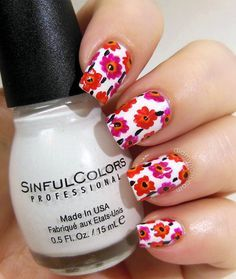 Marimekko Inspired Flowers Nail Art | nails | Pinterest (58094)
