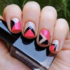 Red black and nude geometric nail art | nail | Pinterest (59923)