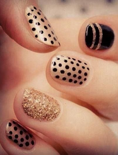 Tuesday's #NailCall: Gold Accents and Bold Patterns (61440)