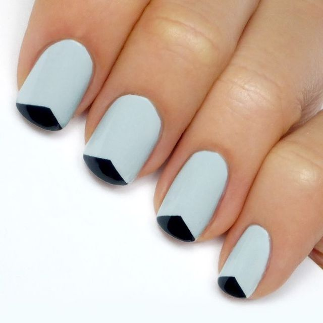 Mani Monday: Grey and Black Triangle Tip French Mani Tutorial (61777)