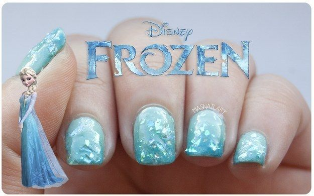 "Community Post: 17 Pieces Of Amazing ""Frozen"" Nail Art (63793)"