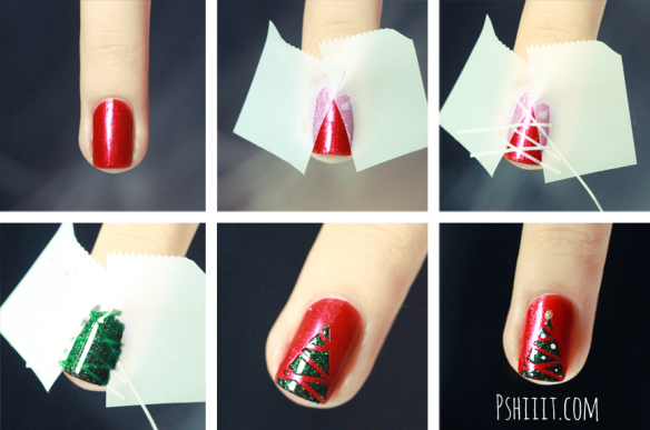Deck your nails in festive Christmas trees (71144)