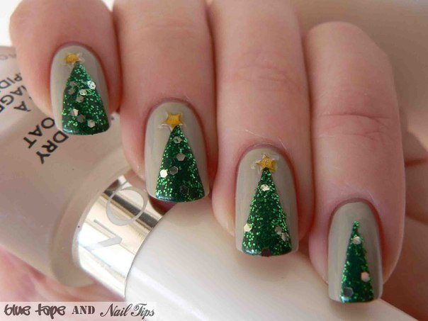 Easy Christmas Tree Nail Art Design - Tutorial - AllDayChic (71146)