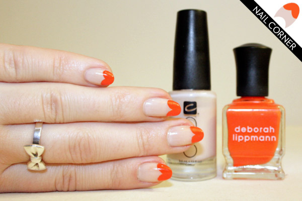 FASHION Magazine |  Nail Corner: 2 colourful ways to update the French manicure with purple chevrons and orange hearts (73940)