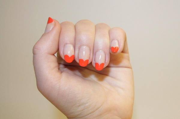 FASHION Magazine |  Nail Corner: 2 colourful ways to update the French manicure with purple chevrons and orange hearts (73941)