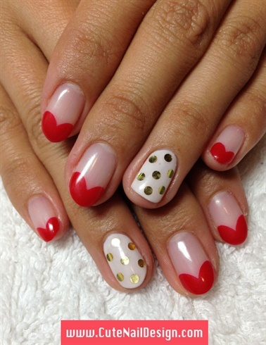 Heart French Nails - Nail Art Gallery (73943)