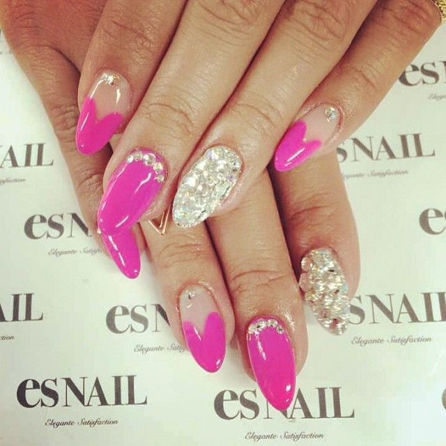 # Pink Heart French Nails | hair & beauty. | Pinterest (73945)