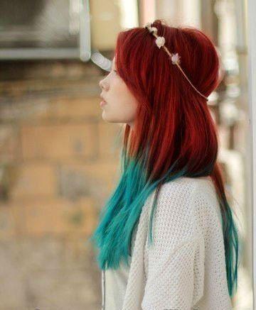 Handmade Mermaid Red Ombre Dip Dyed Hair Extensions, Tye Dye Tips, 20… (108700)