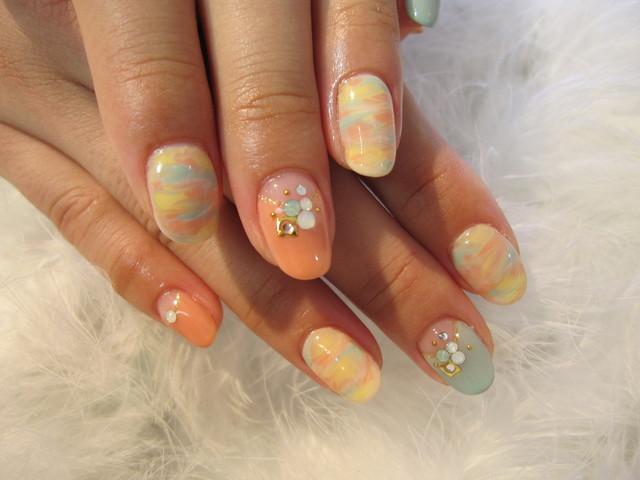 春色マーブルネイル☆ | 島田市のネイル【nail cafe CHATIE】かわいいデザインがいっぱい! (125988)