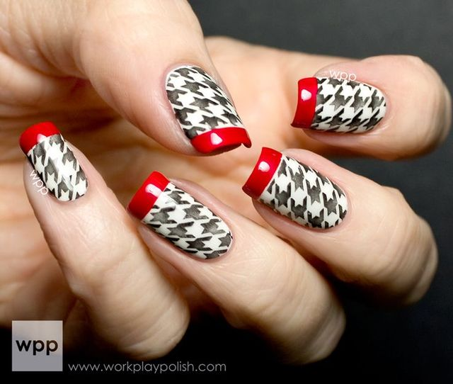 Digit-al Dozen Does Tape Manis: OPI Houndstooth Black, White and Red French Mani | Nail | Pinterest (176534)