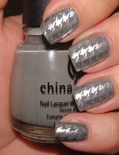Houndstooth Nail Art - CG Millenium over CG Recycle w/m63 | nails | Pinterest (176537)