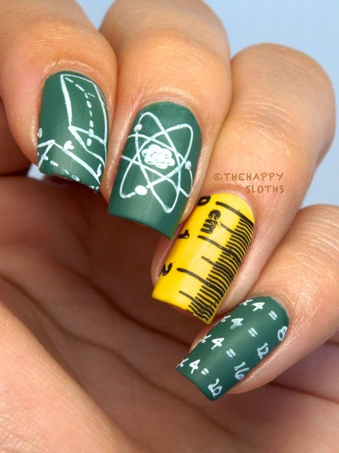The Happy Sloths: Back to School Nails Featuring MoYou London Scholar Collection Nail Art Stamping Plate 01 & 03 (193191)