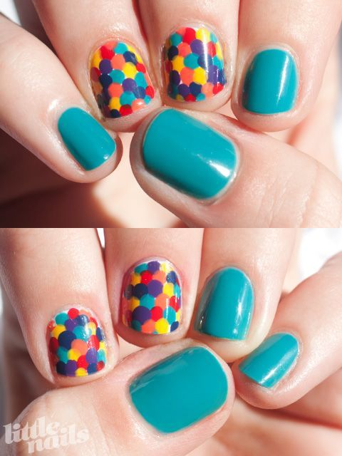 "Rainbow dot nails made with: OPI Fly, Butter London Pillar Box Red, OPI Hot & Spicy, OPI The ""It"" Color, China Glaze First Mate, and China Glaze Gr… 