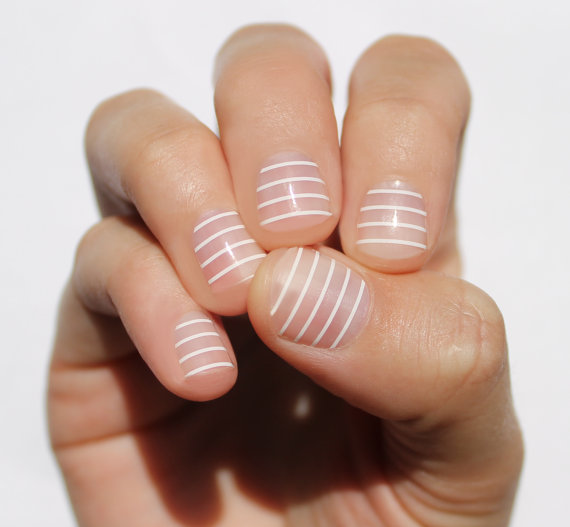Etsy の White Stripes Transparent Nail Wraps by SoGloss (262798)