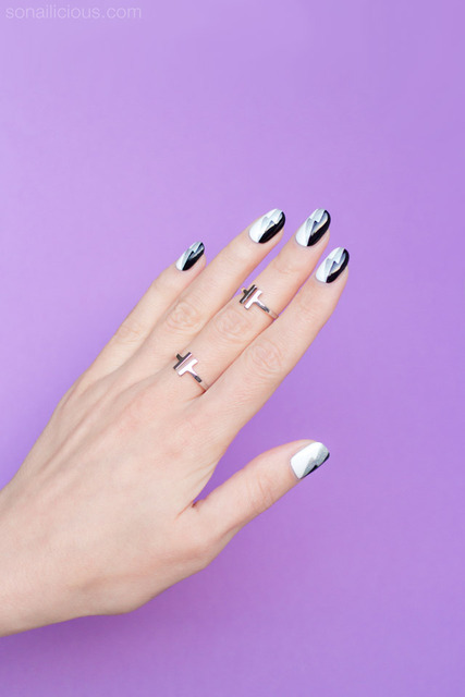 Graphic Black and White Nail Art – Tutorial (277316)