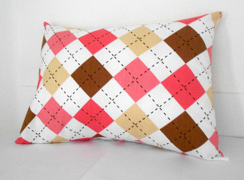 Pink Pillow Cover Nursery Argyle Fabric 12 X 16 by SarahLyallHome | We Heart It (307112)