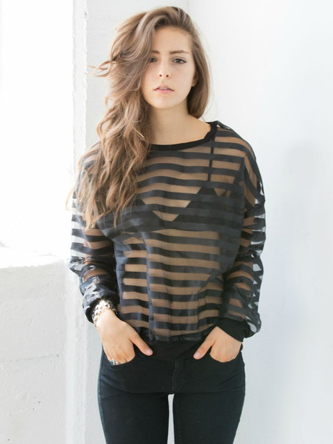 Striped Mesh Reckless Top | Social Butterfly House by S B H | We Heart It (315012)
