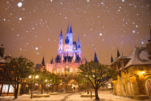 Real snow falling at Tokyo Disneyland. by Vivian | We Heart It (360767)