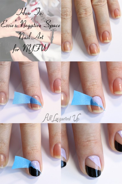 Nail Art Tutorial - Essie Negative Space Nail Art from NYFW  : All Lacquered Up (362125)