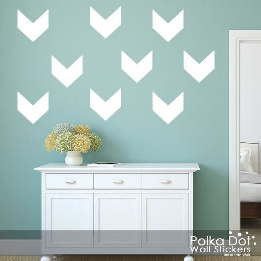 Short Chevron Wall Decals | Peel and Stick | Apartment Safe (382997)