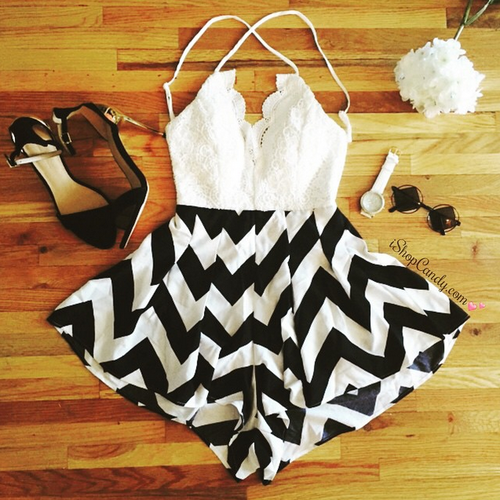Sherry Chevron Playsuit — iShopCandy.com - Clothing, Summer Shorts, Crop Tops, Rompers, Jewelry, Arm Candy Sets, Midi Rings, Fashion Watches (383292)