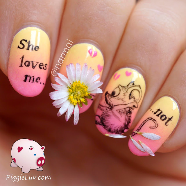 PiggieLuv: 'She loves me not' nail art with REAL daisy (394394)
