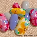 【SAYOKO】ネイルカラーのみで作る!トレンドのくすみ系カラーでボタニカルフラワーネイル