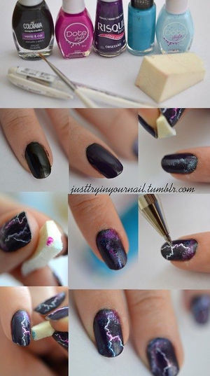 You Know Super Cute Lightening Nails So Easy And Fun Please Like (32688)