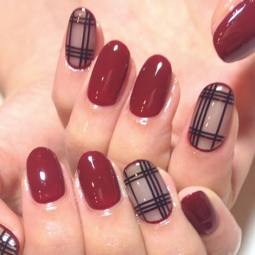Fall nails in bordeaux red and checkered patterns | We Heart It (63735)