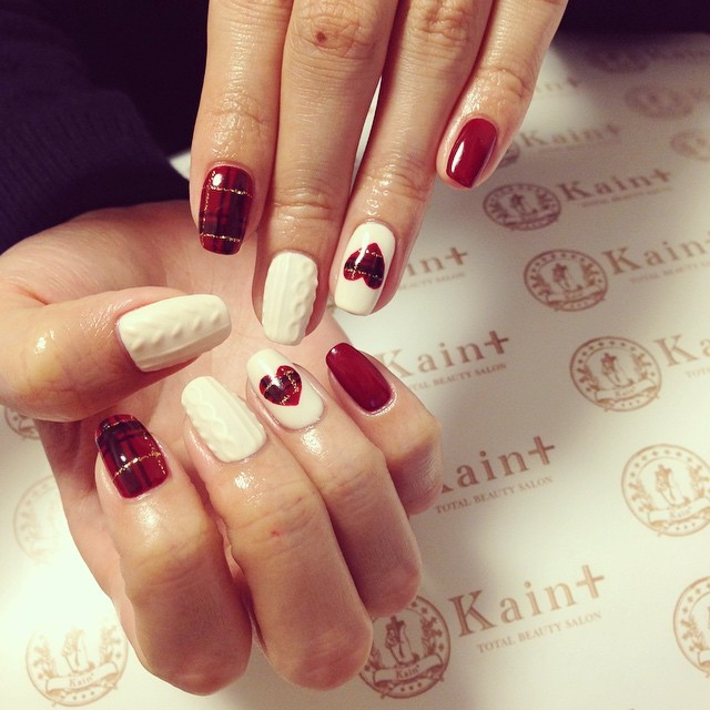 @kainplus - ニット×チェック#kain  #kainplus  #nail  #nails ... - Enjoygram (63741)