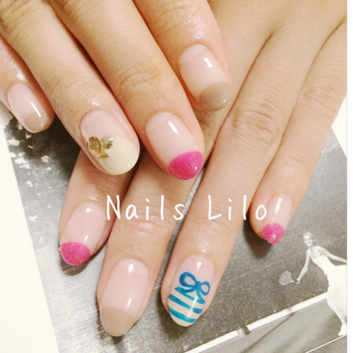 #Nails Lilo @Kyoto Japan 堺町六角#Lilo original nail art#ameba blog 【Nails Lilo】#studs#ribbon #Auntumn | We Heart It (64641)