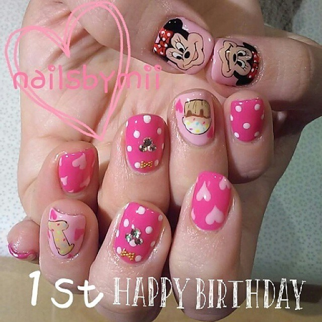 @nailsbymii - #birthday #minnie #disney #nails #gelnail... - Enjoygram (65262)
