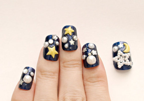 3D nails Japanese nail art galaxy stars half moon navy by Aya1gou | We Heart It (92055)