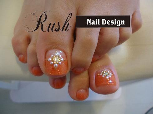 オレンジグラデーション★ペディキュア : 松山市 ネイルサロン Nail Design Rush (ラッシュ) (102050)