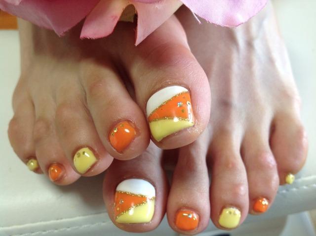 フットネイル夏オレンジ&イエロー | ネイルサロン Rainbow (102056)