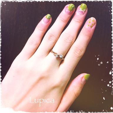 ネイルブログ *Lupicaの小さなつめ* 抹茶ドットネイル (106523)