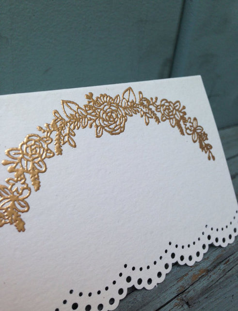 Laurel Embossed Place Card with Doily by moonsugarcalligraphy | We Heart It (106536)