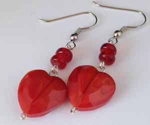 Red Heart Dangling Earrings Valentine Earrings by LanniesDesign | We Heart It (109792)