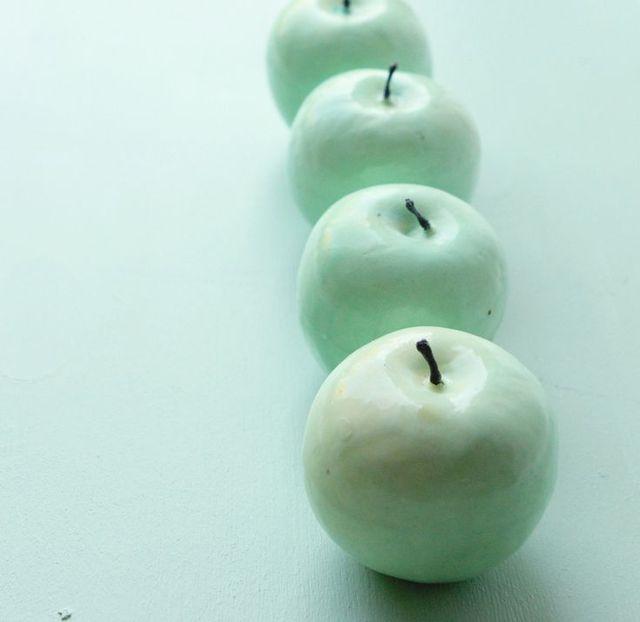 Vintage mint green apple - SET of four (111172)