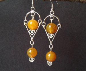 Sterling Silver Yellow Chandelier Earrings with by LanniesDesign | We Heart It (117670)