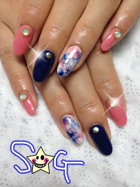 ピンク×ネイビー:中野市激安ネイルサロンStar☆Girl (125382)