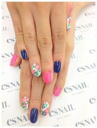 Satomin's Blog|   Newネイル    ┗ネイビー×ピンク花柄  今日のアイメイク つけま by 八鍬里美【さとみん】|CROOZ blog (125394)