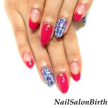 ホットピンク × ネイビー ツイード ジェルネイル キャンペーン | 浜松市のネイルサロン「Nail Salon Birth」 (125401)