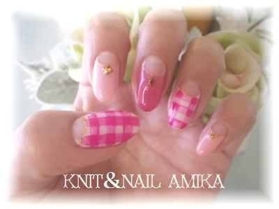 ギンガムチェックネイル☆ : knit&nail  amika♪ (125469)